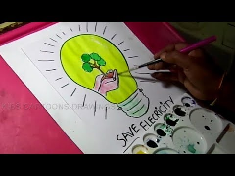 How to Draw Save Electricity /Save Energy Drawing for Kids