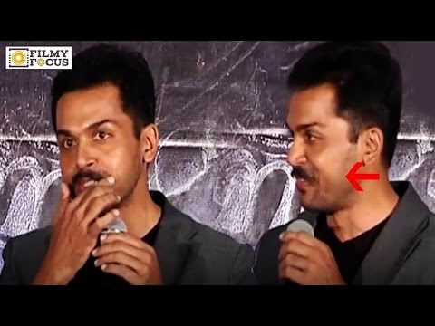 Karthi Fake Mustache Slip at Kashmora Press Meet || Karthi Akward Moment - Filmyfocus.com