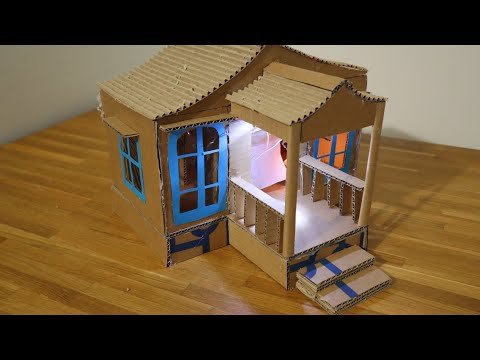 make a beautiful cardboard house with light on it DIY