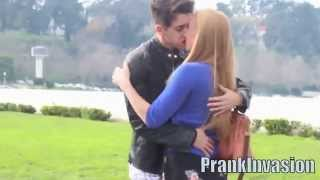 Girl kissing a stranger on the street ( Kissing Prank)