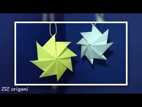 Easy Origami ornaments - origami star. DIY Wall hanging decor with paper.