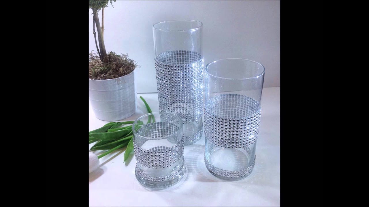 Set of 3 glass candle holder home decor rhinestone wedding set of 3 glass candle holder home decor rhinestone wedding centerpiece youtube floridaeventfo Gallery