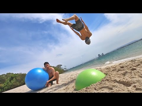 Thumbnail: TRAMPOLINE TRICKS WITH MEGA BOUNCY BALL!