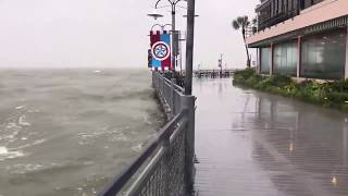 Raw: Big waves along Kemah Boardwalk from Tropical Storm Imelda