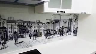 Скинали с чёрно-белым изображением улочек города - изготовление под заказ в Днепре