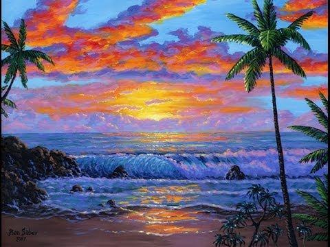Cara Melukis Pantai Tropis Saat Matahari Terbenam Menggunakan