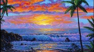Cara melukis pantai tropis saat matahari terbenam menggunakan akrilik di atas kanvas