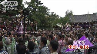 三社祭・宮出し始まる 浅草に威勢のいい声響く(19/05/19)