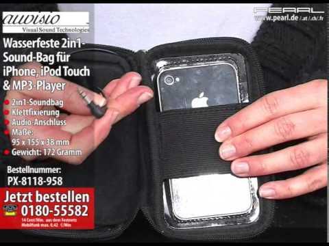 auvisio Wasserfeste 2in1-Sound-Bag für iPhone, iPod touch & MP3-Player