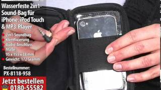 auvisio Wasserfeste 2in1-Sound-Bag für iPhone, iPod touch & MP3-Player