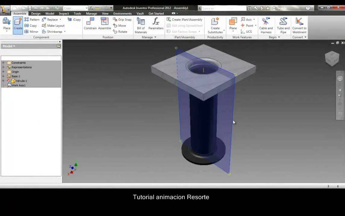Spring animation made in autodesk inventor, step by step. - YouTube