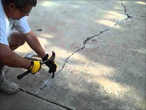 Concrete Crack Repair In Driveway Youtube