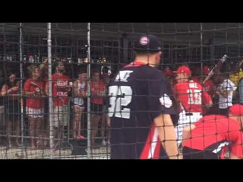 Bill Nye the Science Guy takes batting practice before the MLB Celebrity Softball Game at Nationa...