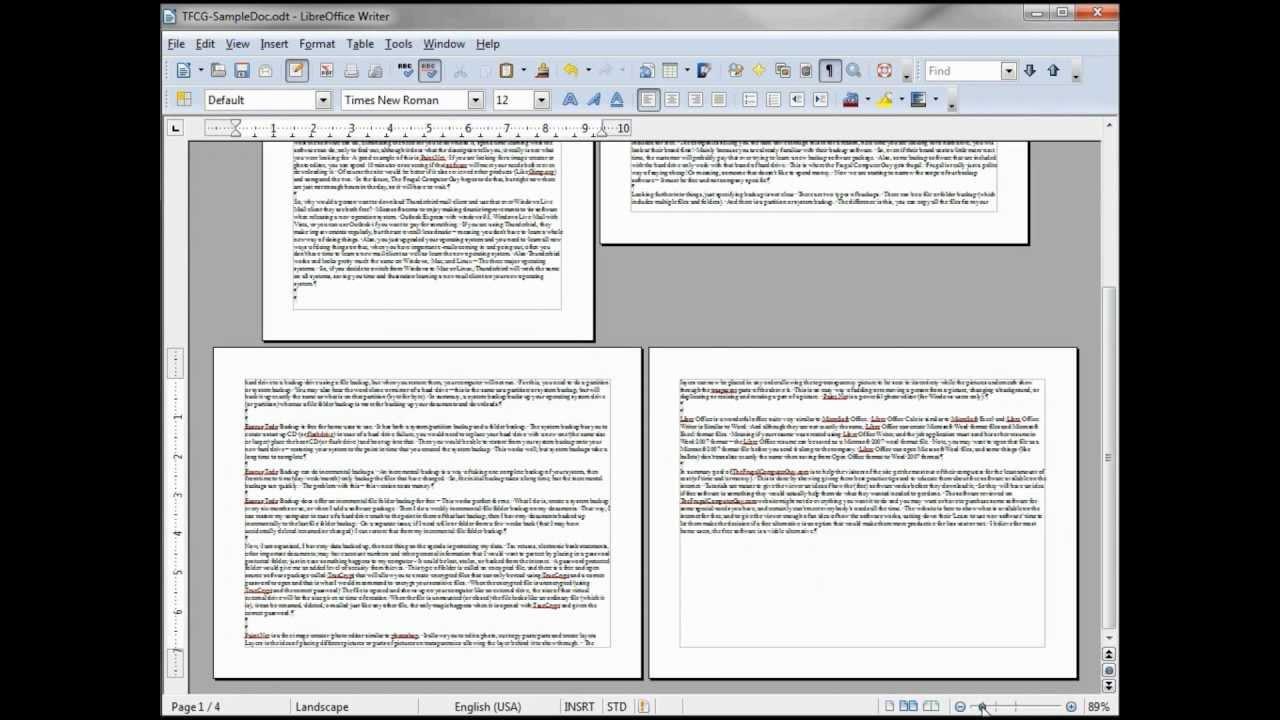 Openoffice writer default paper size