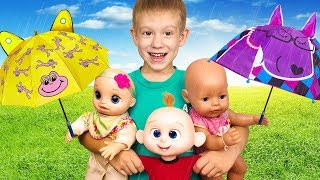 Rain Rain Go Away Song with Little Baby Dolls | Kids Songs by Tim and Essy