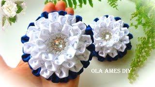 Красивые цветы из лент Канзаши/ Ribbon Flower Tutorial/ DIY Kanzashi/ Flores de Fita/ Ola ameS DIY