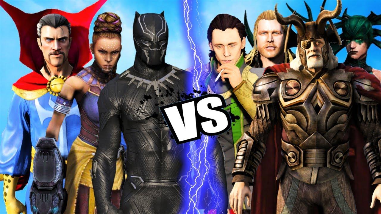 Doctor Strange, Black Panther, Shuri vs THE GODS of Asgard, Thor, Odin, Loki and Hela