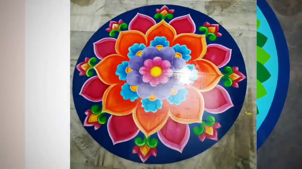 Muggulu Rangoli Designs On Flooring Oil Painting Youtube