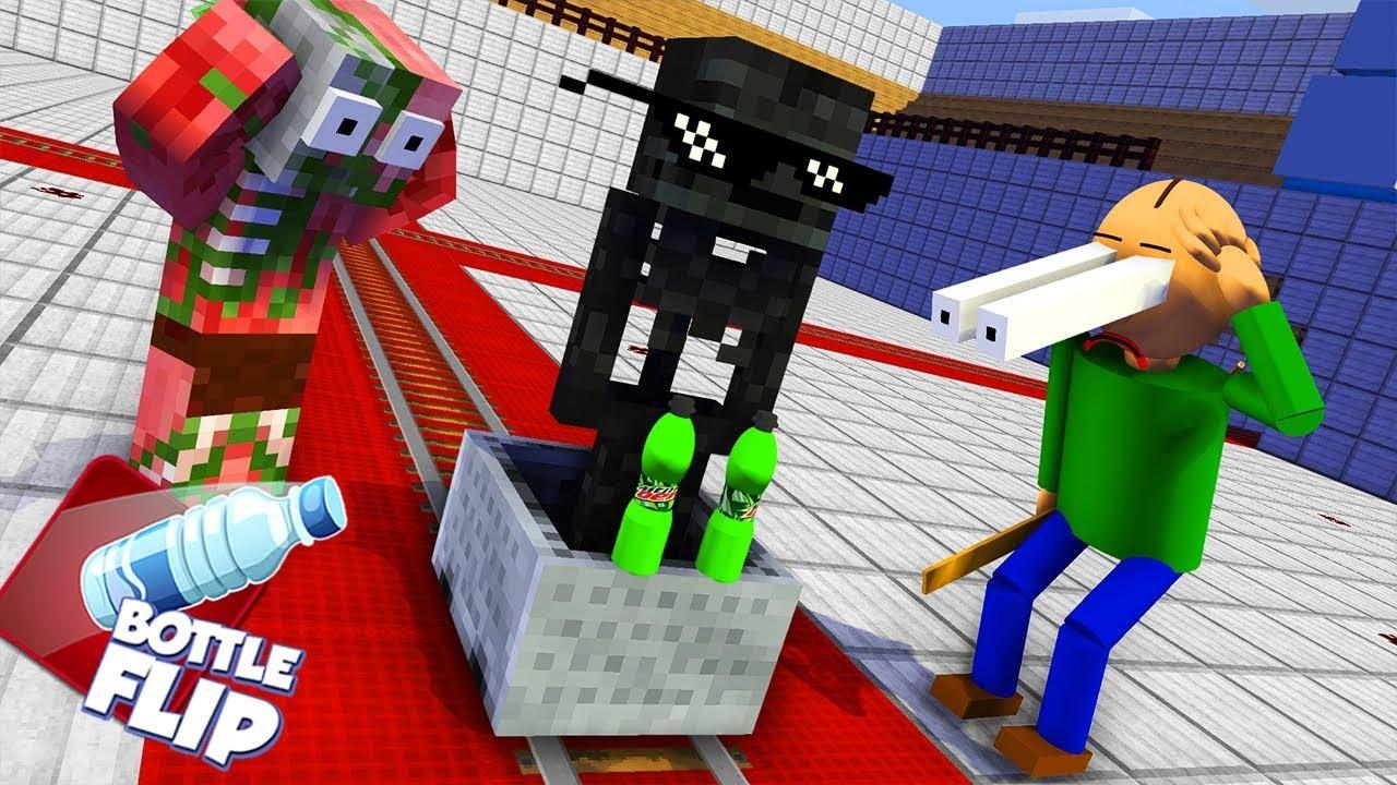 Download Monster School : BALDI'S BASICS & BOTTLE FLIP CHALLENGE - Minecraft Animation