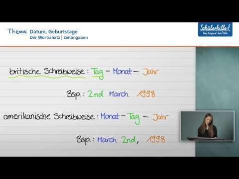 Datum, Zeitangaben, Geburtstage // Der Wortschatz // Englisch // Schülerhilfe Lernvideo