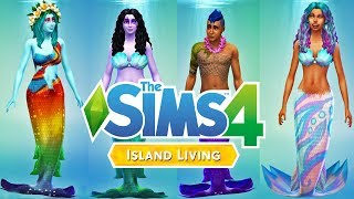 MERMAIDS!!!!!!!!! The Sims 4 Island Living - CAS Create a Sim Hair and Clothing Review