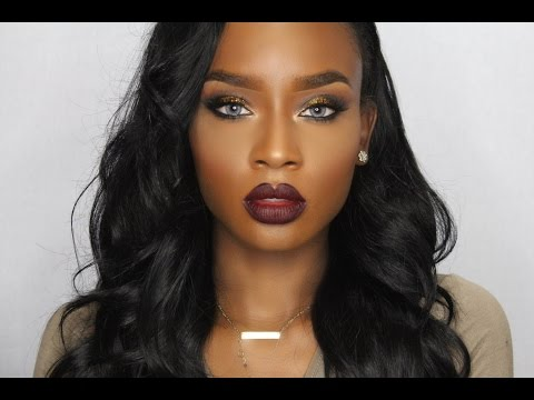 gold-glitter-eyes-&-dark-lip-makeup-tutorial