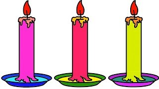 How To Drawing Candle 3D Coloring Learn For Kids Step by Step Easily    Little Channel    Candle Art