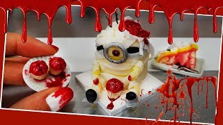 Zombie MINION real mini cake with cupcakes/halloween cake/Jenny's mini cooking/cake tutorial/DIY