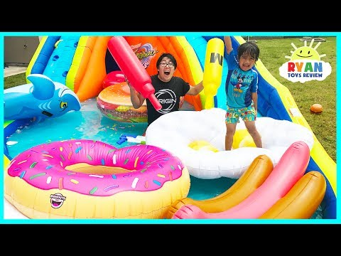 Thumbnail: Giant Inflatable Water Slide for kids with Pool Party Giant Floats Food and Family Fun water toys