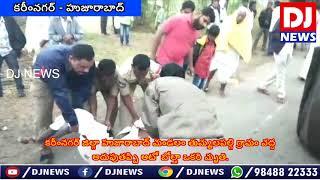 Karimnagar Auto accident ||  Auto Skids in Huzurnagar || అదుపుతప్పి ఆటో బోల్తా ఒకరి మృతి  || DJ NEWS