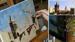 Урок масляной живописи. Прага. Карлов мост. Мастер-класс. Уроки рисования. Научиться рисовать.