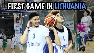 LaMelo Ball and LiAngelo Ball FIRST GAME highlights In Lithuania
