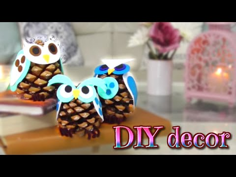 Diy decor como hacer buhos con pi as isa youtube - Pinas decoradas para navidad ...