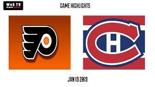 NHL Highlights   Philadelphia Flyers vs  Montreal Canadiens   Jan  19, 2019