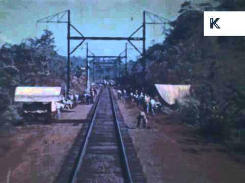 1939 Railway Journey Along the Panama Canal, Rare Colour Home Movie Footage