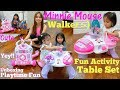 Little Girl's Toys: Disney Minnie Mouse Playsets. A Walker for Baby and an Activity Learning Table