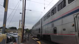 Amtrak Superliners under the wires on the Keystone line Malvern, PA 9/21/2015