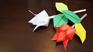 Подарок на 8 МАРТА / Тюльпан на ножке из бумаги