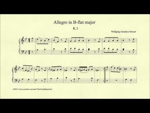 Mozart, Allegro in B-flat major, K 3, Piano