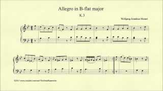 Mozart, Allegro in B-flat major, K 3, Piano