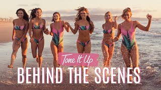 Sunless tanner, oil, bikinis, dumbbells GALORE! Exclusive behind the scenes of Tone It Up! 😜👙✨☀️
