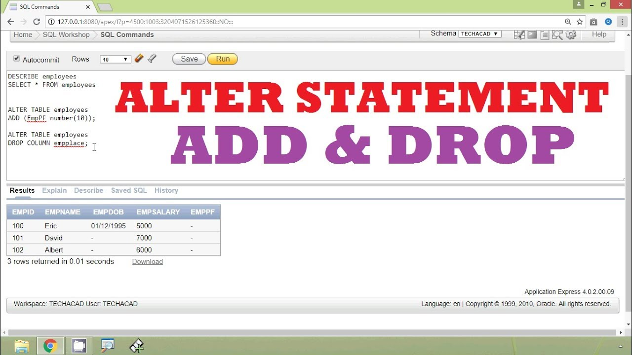 Oracle Tutorial Add And Drop A Column Using Alter Table Statement