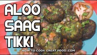 Spinach Potato Cakes Recipe - Indian Saag Aloo Tikki -  Palak