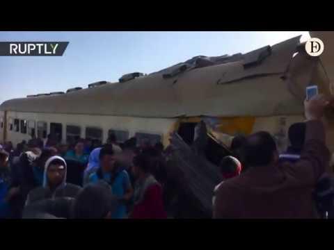 Al menos 16 muertos y 40 heridos al colisionar dos trenes en Egipto - febrero 2018