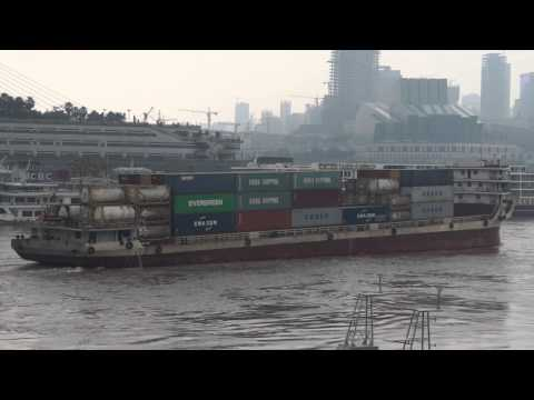 Inland Container Vessel gliding Through