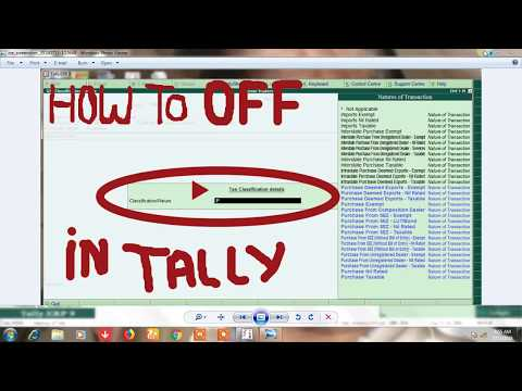 how to off nature of transaction/tax classification detail option in tally