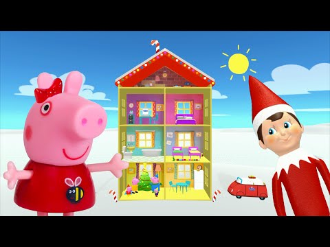Peppa Pig Game | Elf On The Shelf Hiding Peppa Pig Christmas Toys in Peppa Pig Family Home for kids