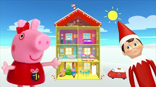 Peppa Pig Game   Elf On The Shelf Hiding Peppa Pig Christmas Toys in Peppa Pig Family Home for kids