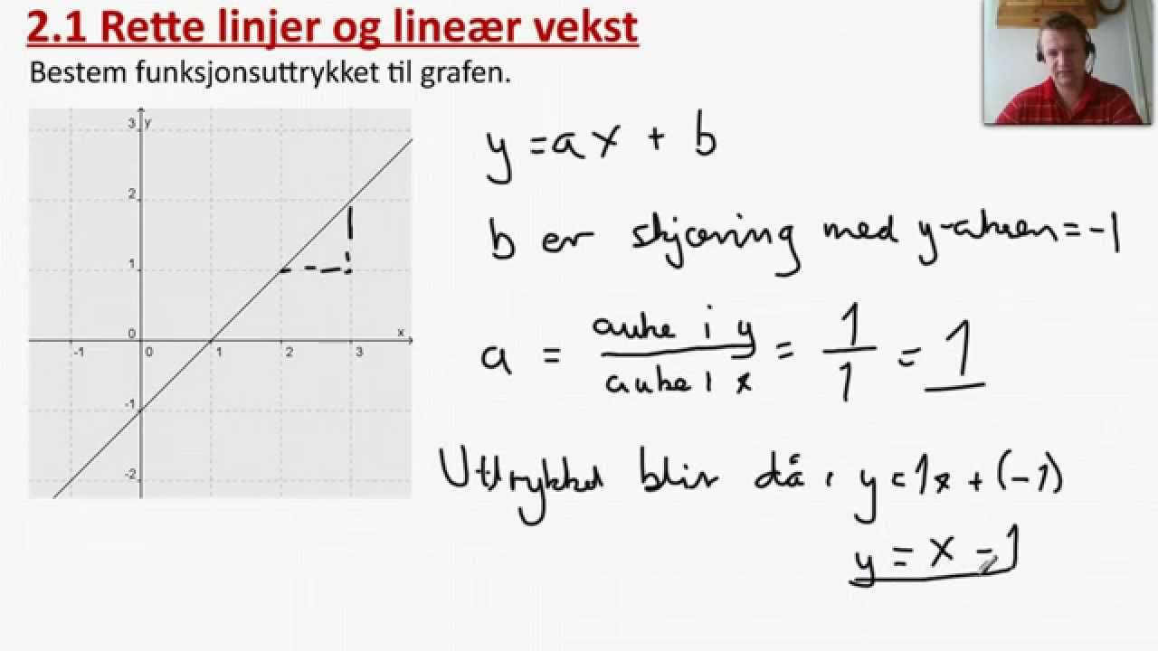2.1 Rette linjer og lineær vekst. Eks. 1