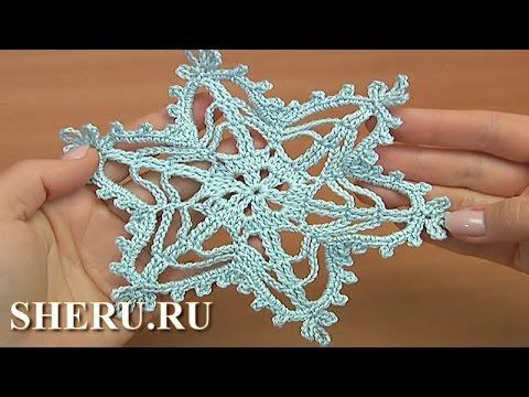 вязание крючком ажурная снежинка
